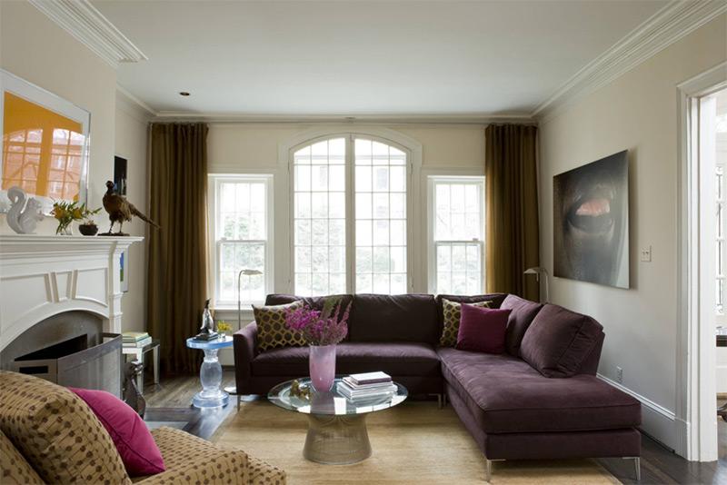 Purple l-shaped sofa in DC living room