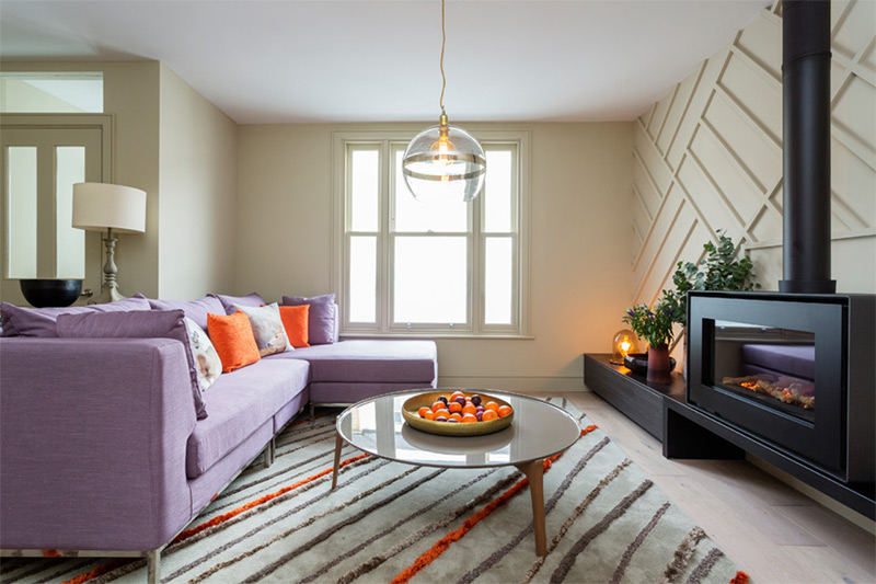 London purple sofa living room open space