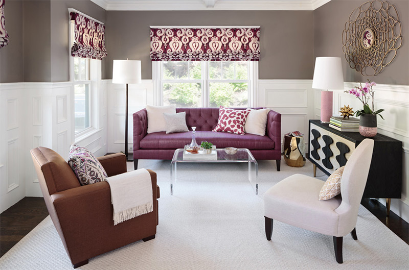 Purple sofa in Boston living room