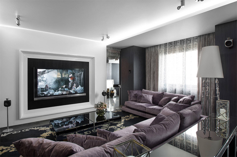 Purple media center living room sofa