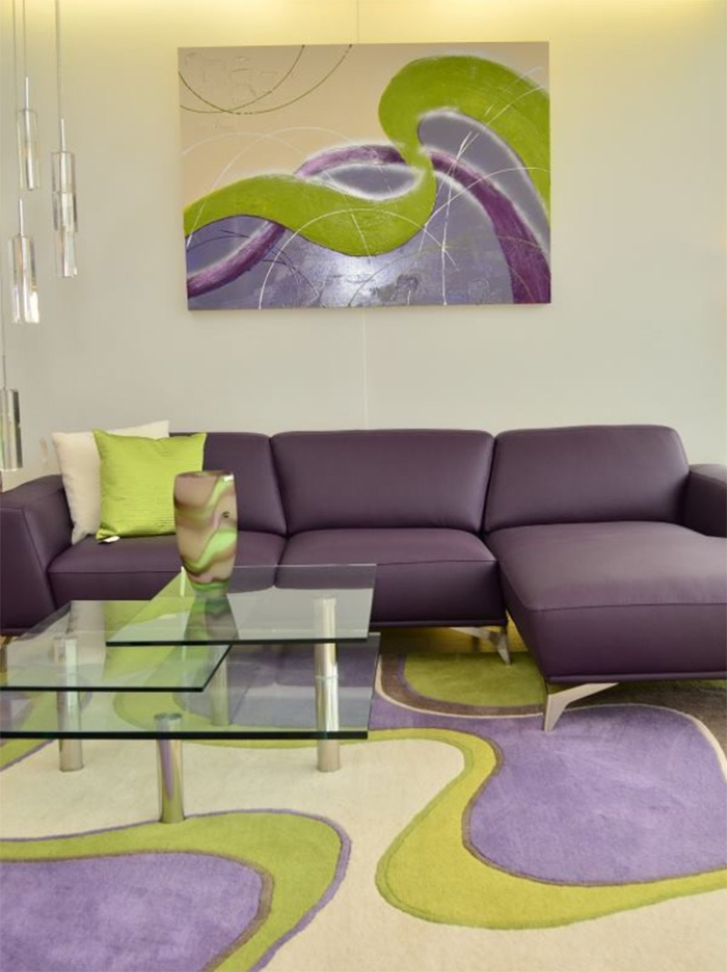 All Leather Purple Sofa Living Room