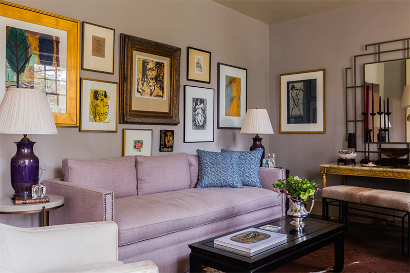 Purple sofa interior living room