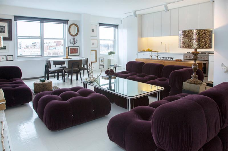 Custom interior with purple sofas