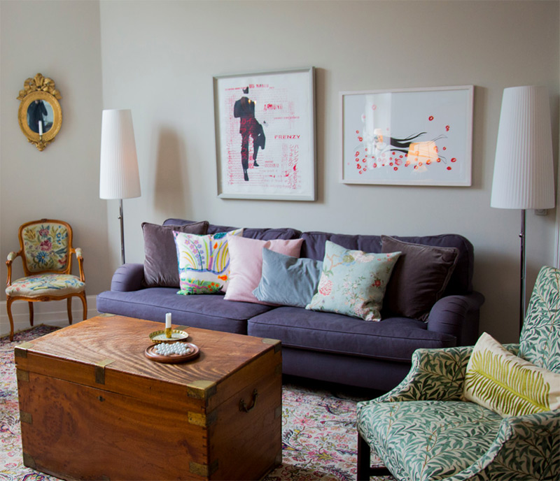 Artsy Living Room Eclectic Sofa
