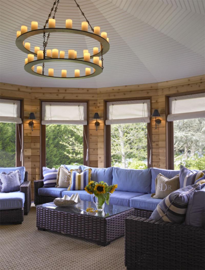 Hamptons living room with purple sofa