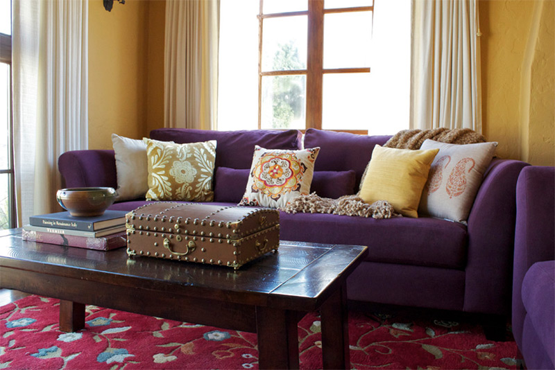 Colorful purple sofa in living room