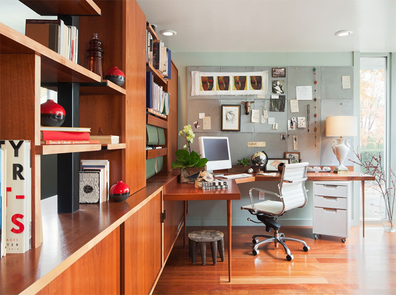 Custom corner desk in home office