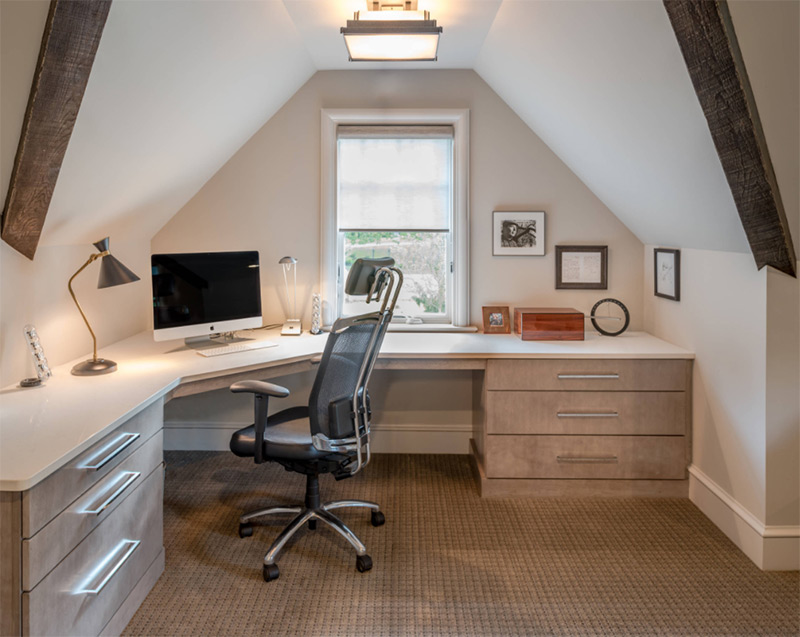 New home office with corner desk