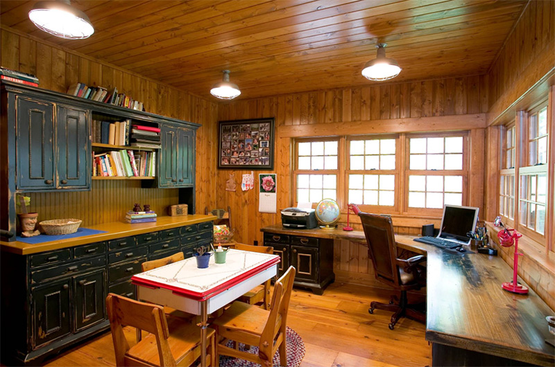Rustic home office with corner desk