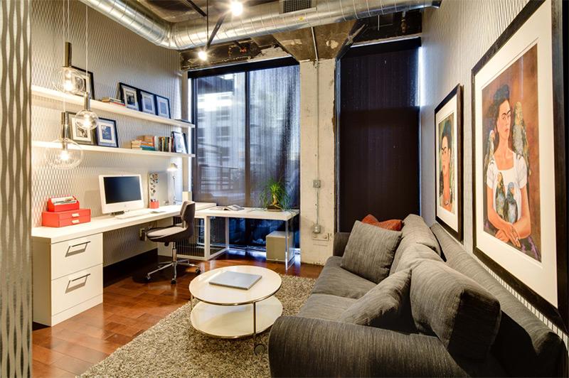 Small home office white corner desk