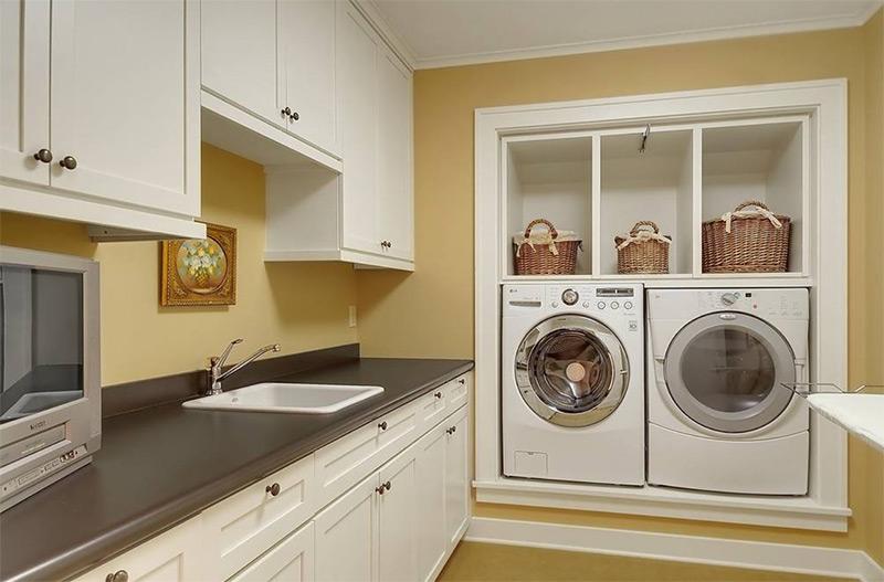 dark yellow laundry room design - Utility Room Design Ideas