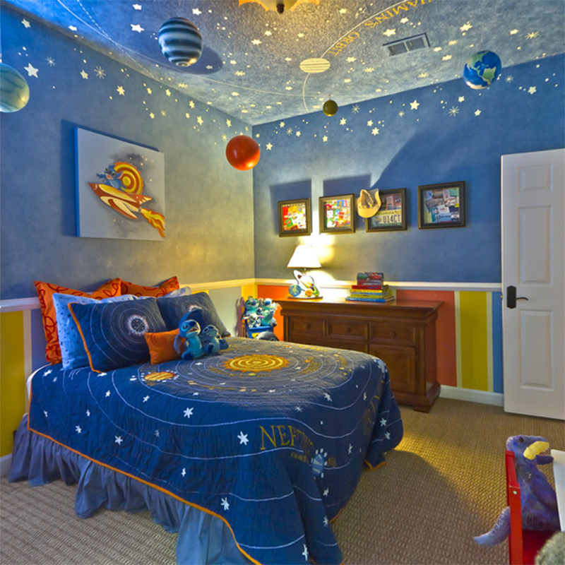 Space Universe Solar System Bedroom Interior Kids