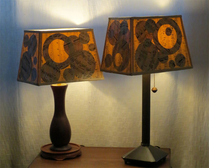Funky handmade table lamps for your home full home living small wooden table lamp shade musical notes pattern aloadofball Image collections