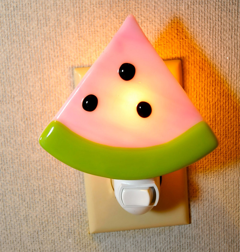 cute pink green watermelon slice seeds nightlight