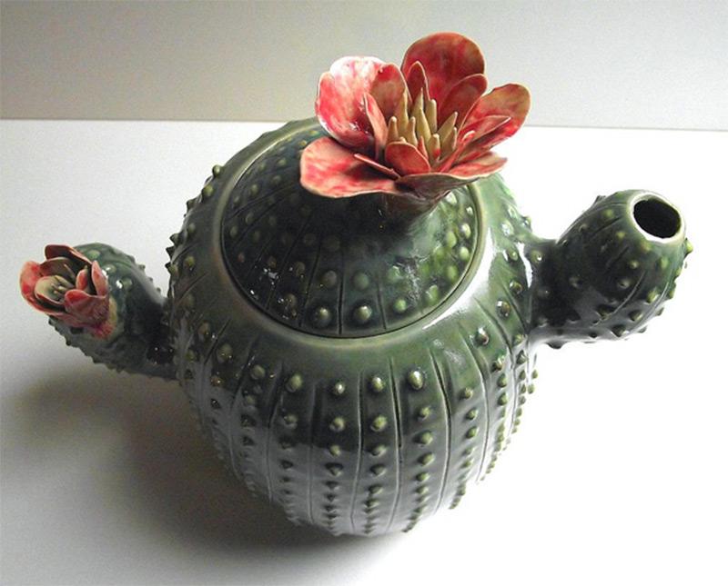ceramic decoration teapot cactus green