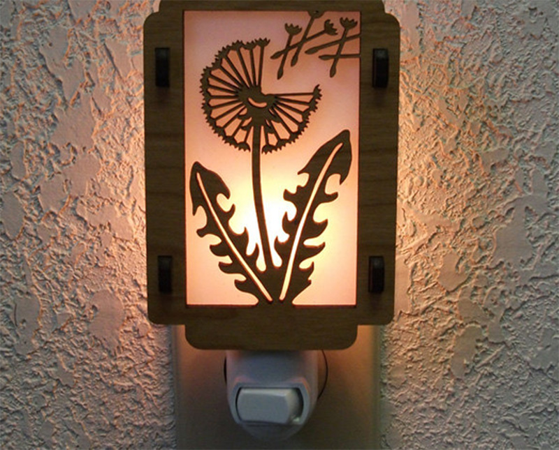 dandelion flower weed leaves night light