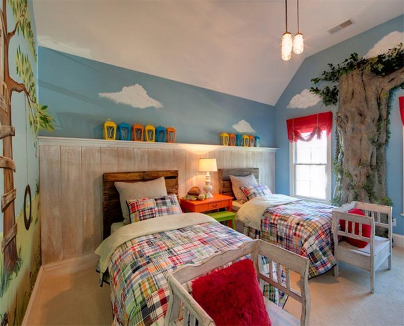 trees walls eclectic bedroom kids interior design