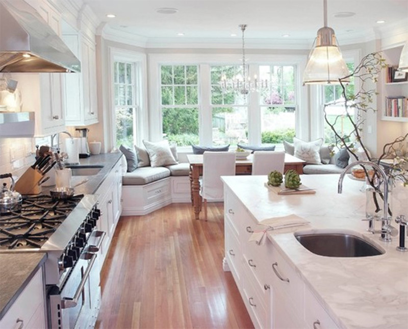 White Kitchen Marble Countertop interior photos of kitchens and breakfast nooks - full home living
