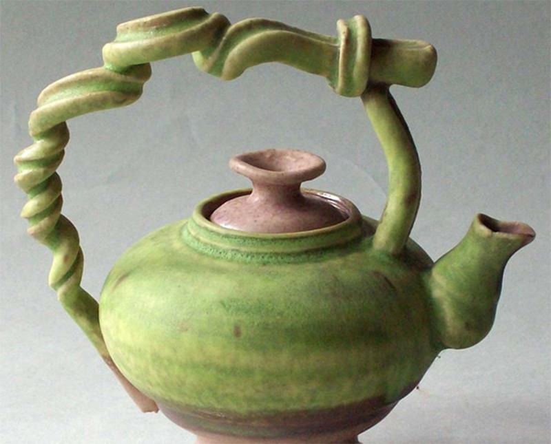 miniature teapot photo curly green vines
