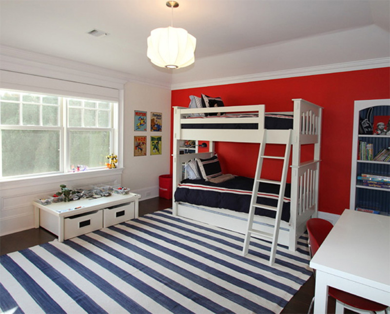 bunkbeds dark red wall black white carpet spacious