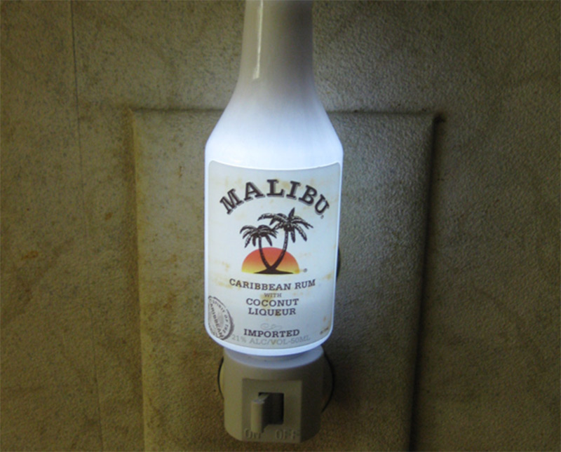 rum small bottle nightlight malibu handle