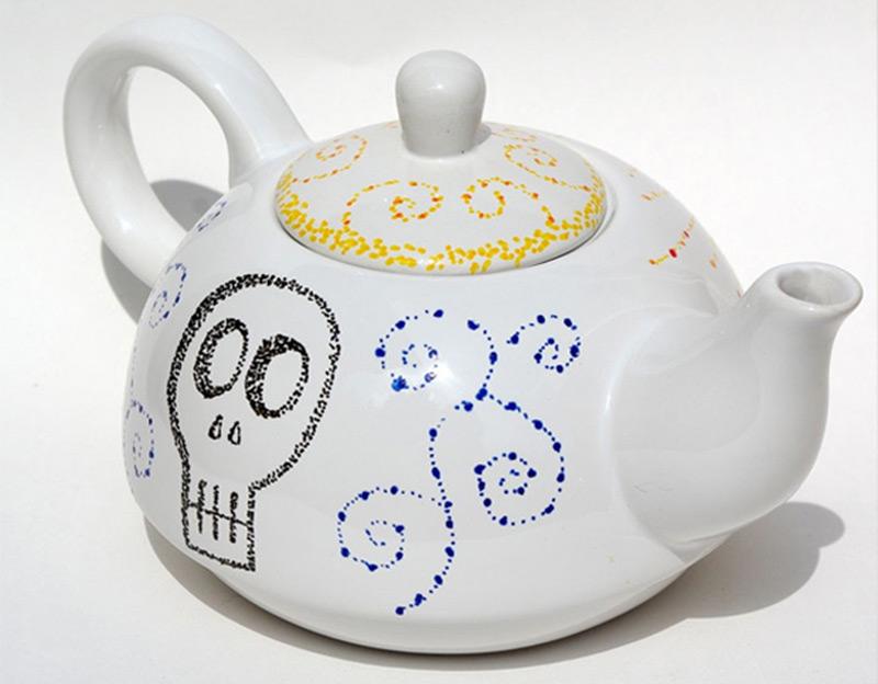 skull sun teapot artwork design customized