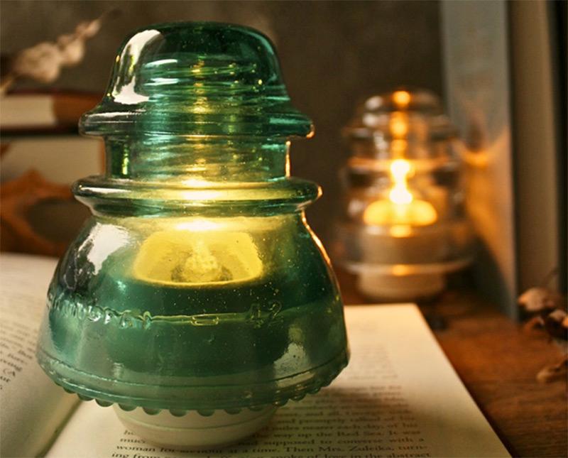 rustic vintage bedside lamp telegraph insulator