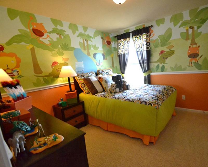 wall mural artwork green jungle trees animals cute bedroom