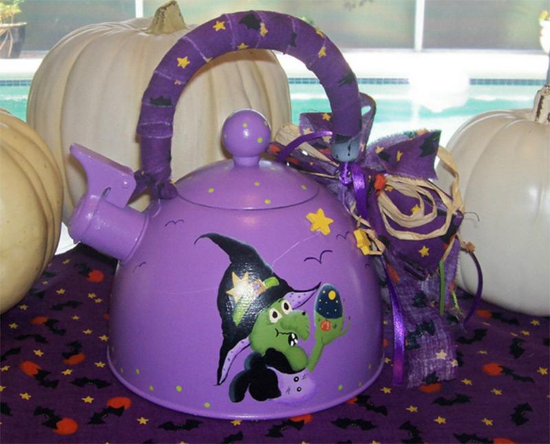 purple teapot design witch brew halloween