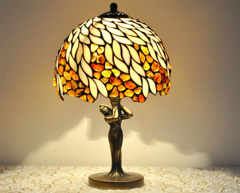 Wonderful Stained Glass Small Table Lamp Brown Orange Baltic Amber