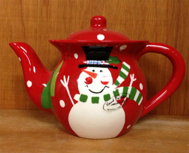 red christmas snowman teapot design etsy