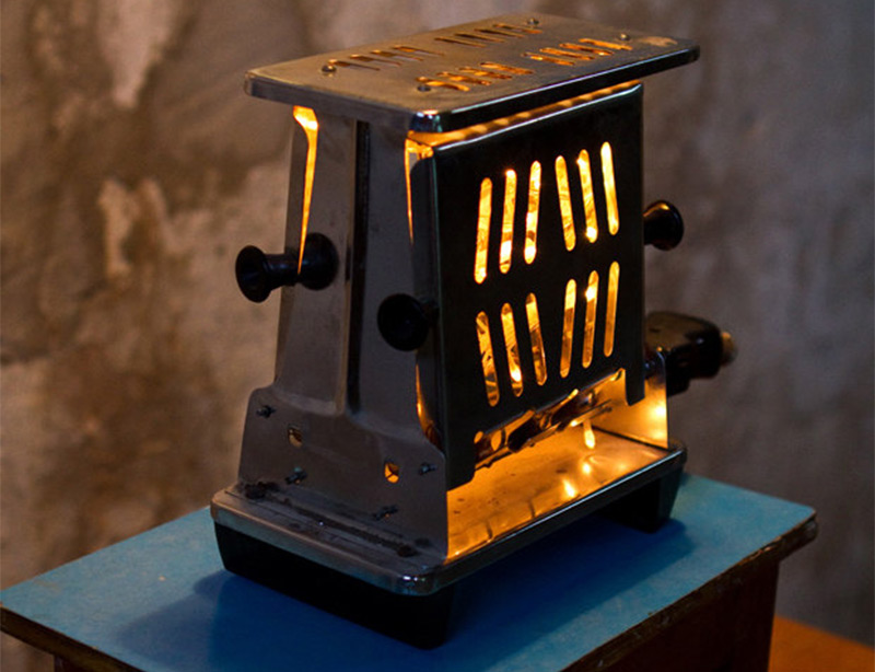 upcycled lamp vintage toaster lighting