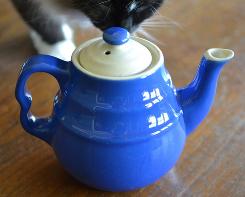 colored painted handmade teapot blue white etsy