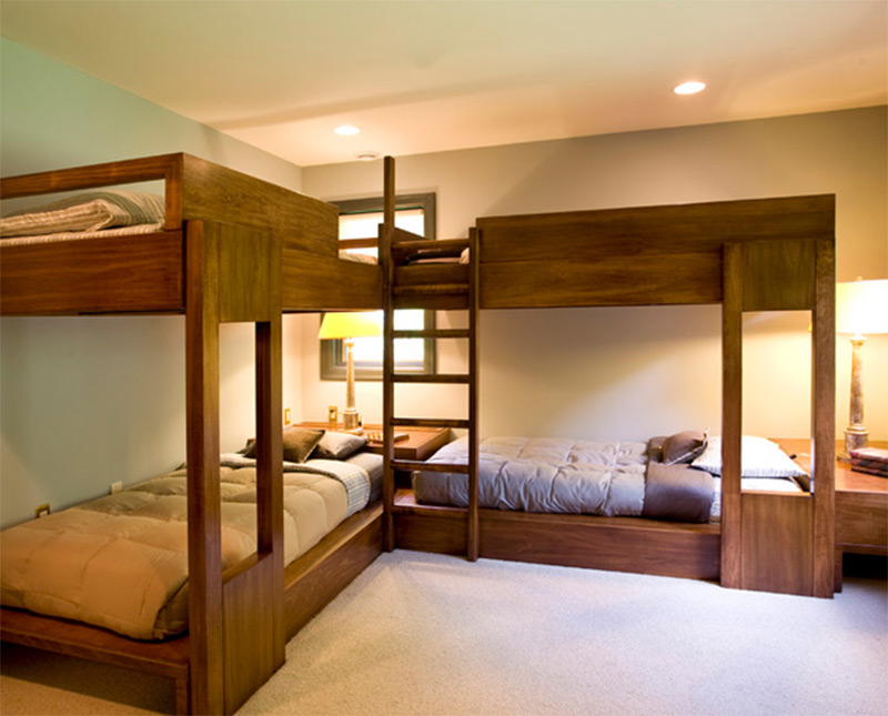clean modern bunkbeds wooden michigan interior kids