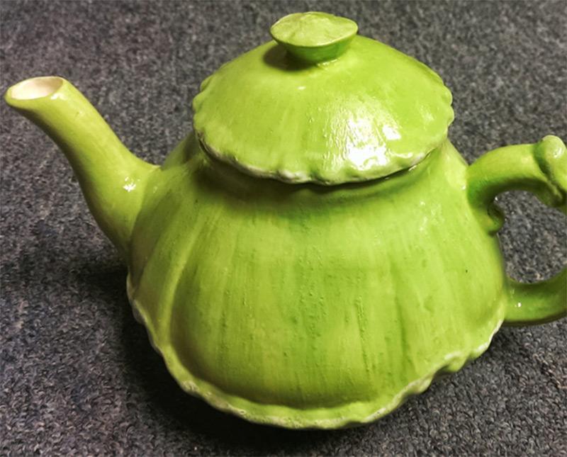 etsy apple green white accents teapot design