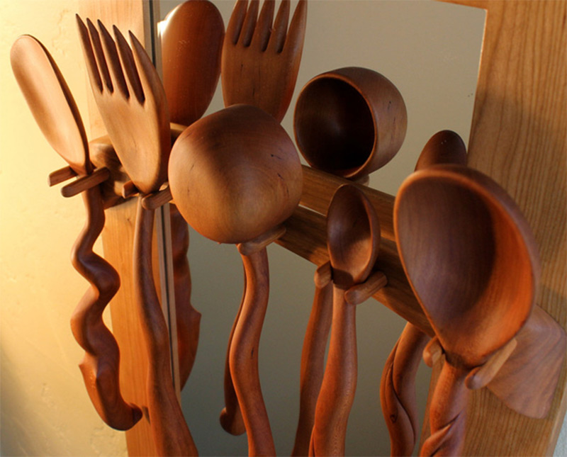 Etsy Cherry Wood Spoons Set Handmade Curvy