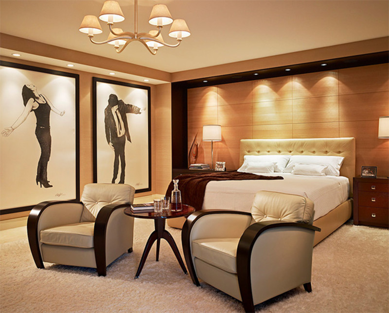 bright wall paintings miami bedroom luxurious interior