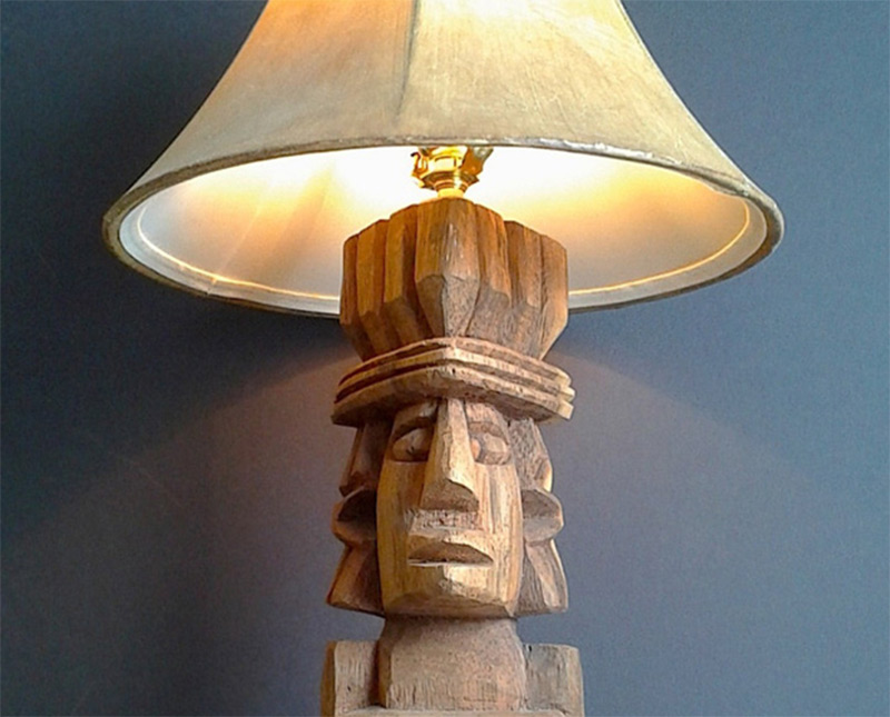Funky handmade table lamps for your home full home living etsy handmade product tiki guy table lamp wooden aloadofball Image collections