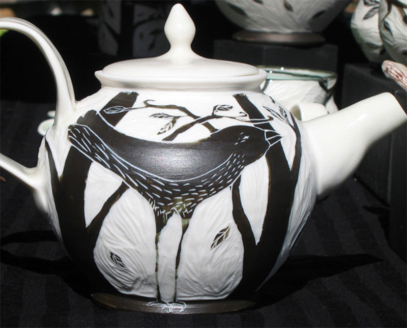 dark black crow teapot artwork customized etsy
