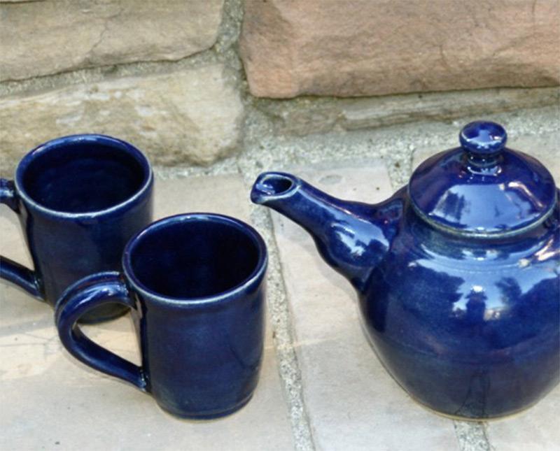 dark blue teapot teacups etsy custom order