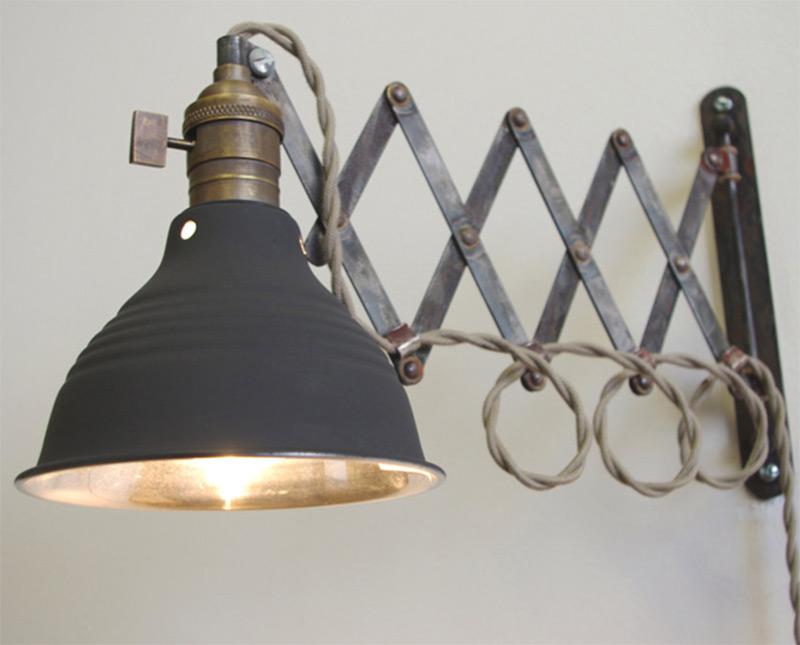 scissor articulating wall lamp extension vintage
