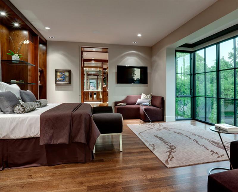 huge windows fullsize beautiful bedroom interior shelving