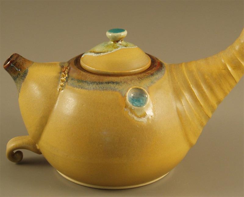orange yellow teapot cornucopia teapot etsy