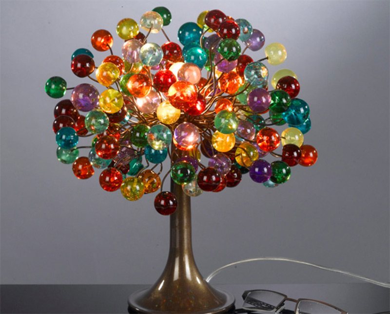 Funky handmade table lamps for your home full home living polyester multicolored bubbles table lamp handmade mozeypictures Images