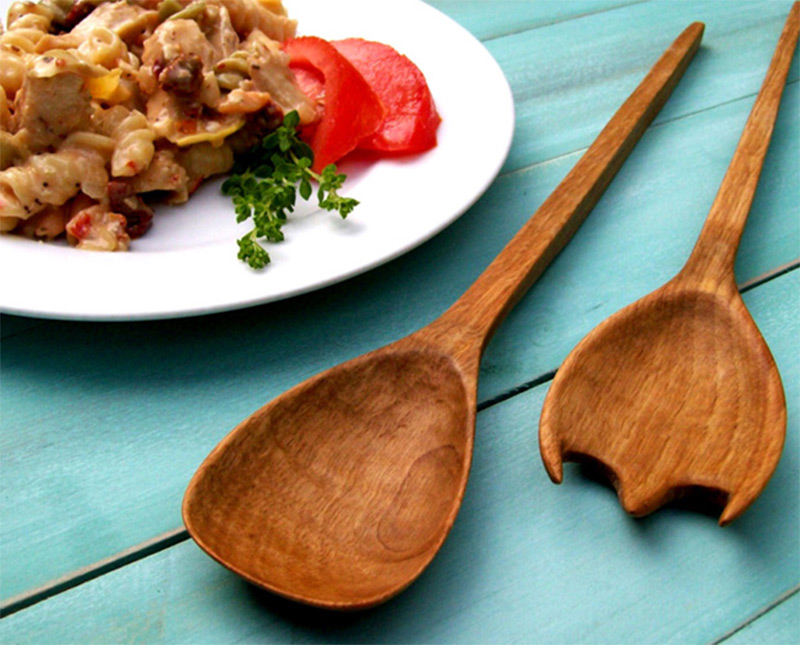 wooden spoons pasta salad dish serving utensils