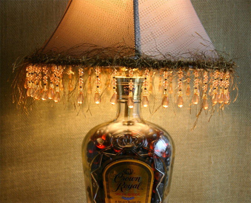 Charming Bright Crown Royal Bottle Handmade Fringed Lampshade