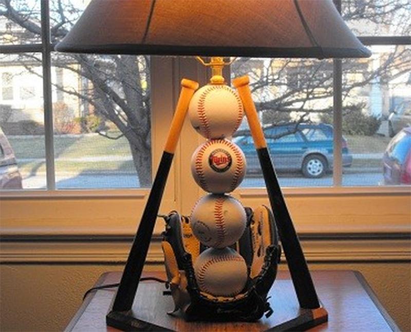 Baseball Structure Handmade Lamp Bats Mitts Etsy