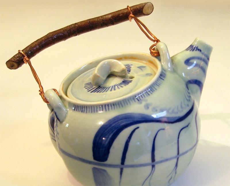 cobalt blue designs illustration teapot calligraphy