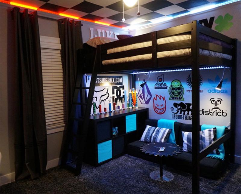 boys bedroom bmx skateboarding scooters logos bunkbeds