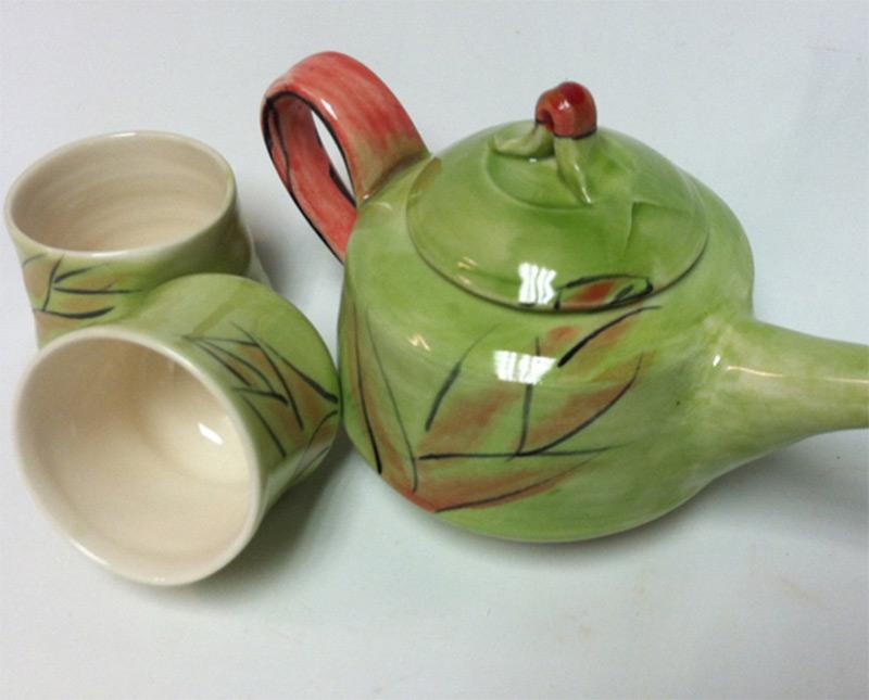 teacups teapot green leaves design etsy